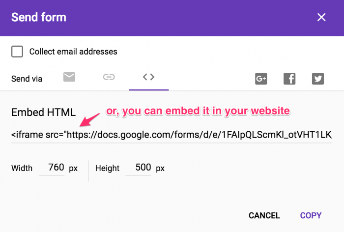 Step 15 - How to embed the form in your website